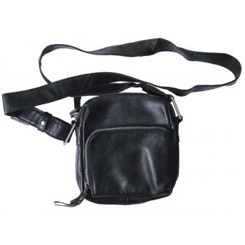 Мужская кожаная черная сумка через плечо DR