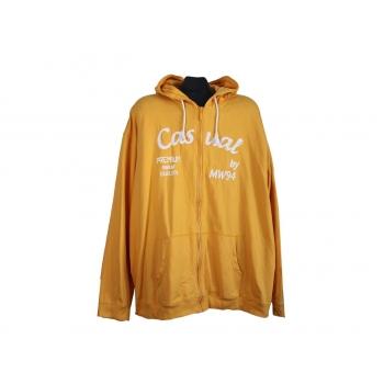 Толстовка желтая на молнии с капюшоном мужская CASUAL PREMIUM, 6XL