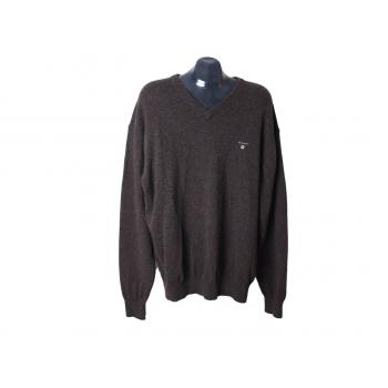 Пуловер шерстяной мужской коричневый GANT, XXL