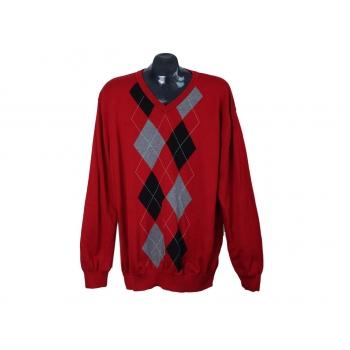 Пуловер мужской красный с ромбами из хлопка DRESSMANN, XL