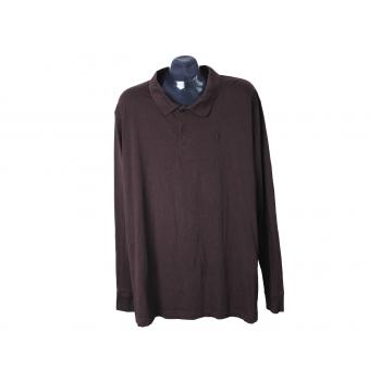 Поло мужское коричневое с длинным рукавом REWARD, XXL
