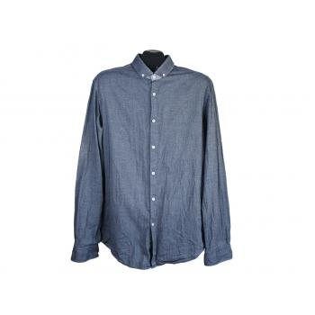 Рубашка мужская синяя приталенная HUGO BOSS, L