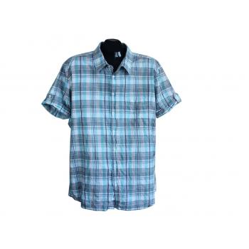 Рубашка мужская голубая в клетку CASA BLANCA, XL