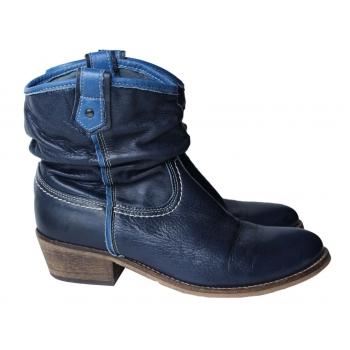 Ботинки казаки кожаные женские синие 38 размер