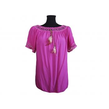 Блуза женская розовая с кружевом, XL