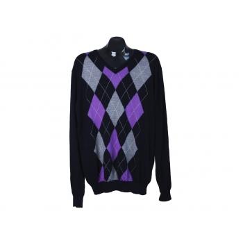 Пуловер мужской с ромбами из мериносовой шерсти JOYFUL, XL