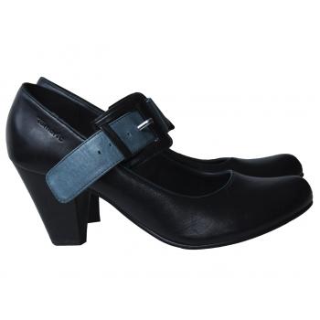 Туфли кожаные женские черные TAMARIS 39 размер