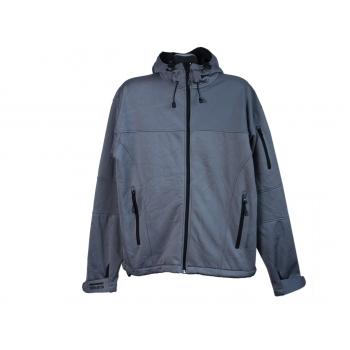 Куртка с капюшоном на молнии мужская серая SOFTSHELL SLAZENGER, XL