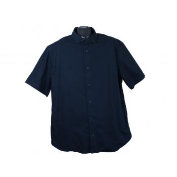 Рубашка приталенная мужская синяя KIABI, XL