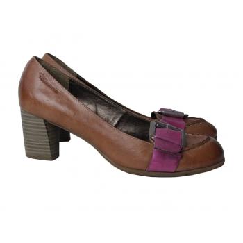 Туфли кожаные женские коричневые TAMARIS 37 размер