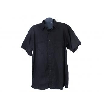 Рубашка черная льняная мужская ATLANT, XL
