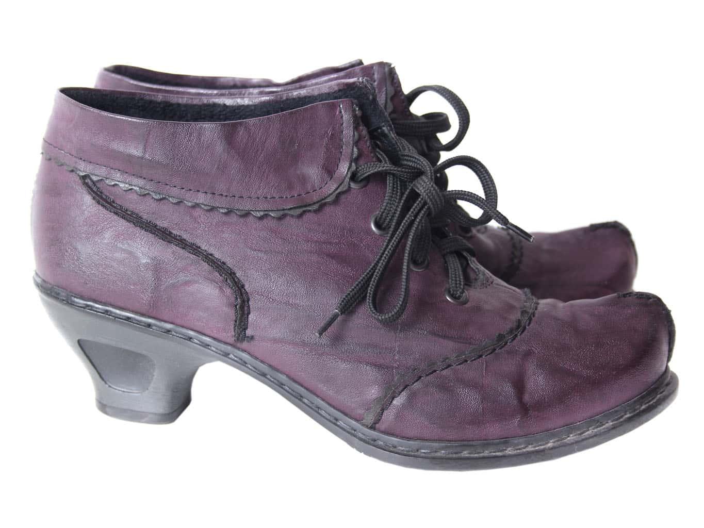 Ботильоны кожаные фиолетовые женские RIEKER 38 размер