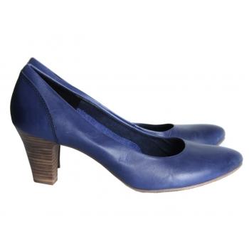 Туфли синие кожаные женские TAMARIS 38 размер
