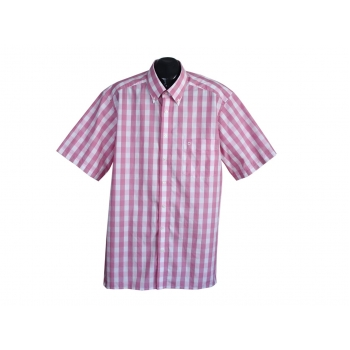 Рубашка розовая в клетку мужская LUXOR SLIM LINE OLYMP, XL