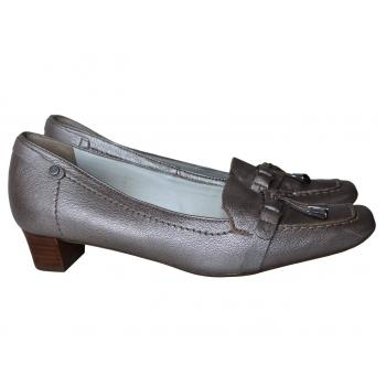 Туфли кожаные серебристые женские HOGL 38 размер