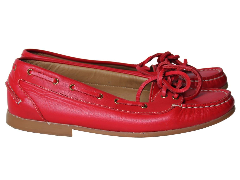 Топсайдеры кожаные красные женские RIZZO 37 размер
