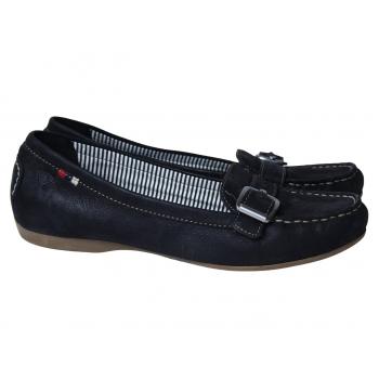 Мокасины черные кожаные женские TAMARIS 39 размер