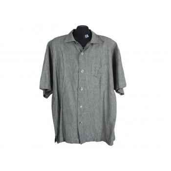 Рубашка льняная мужская зеленая SIGNUM, XL