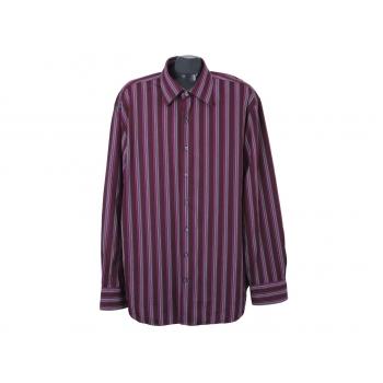 Рубашка бордовая в полоску мужская GAP FITTED PREMIUM, XL