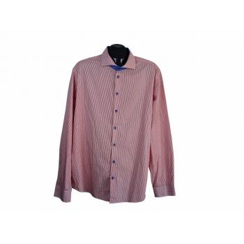 Рубашка приталенная в красную полоску мужская JAKES, XL