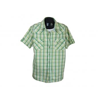 Рубашка мужская зеленая в желтую клетку, XL