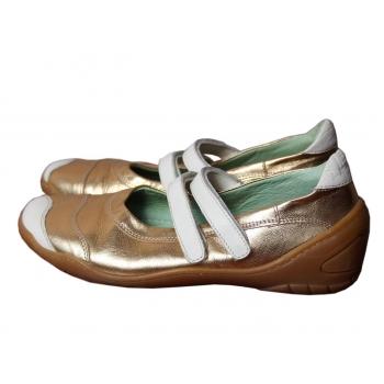 Женские кожаные золотистые туфли 36 размер