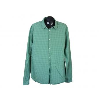 Рубашка зеленая в клетку мужская H&M, XL