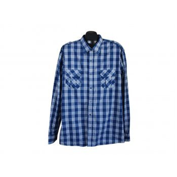Рубашка синяя в клетку мужская SLIM FIT SMOG, XL