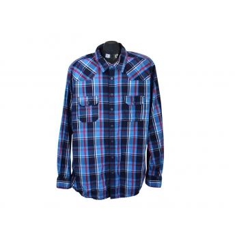 Рубашка синяя в клетку мужская IDENTIC, XL