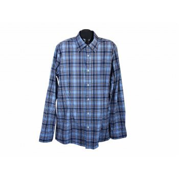 Рубашка приталенная в клетку мужская BENETTON, XL