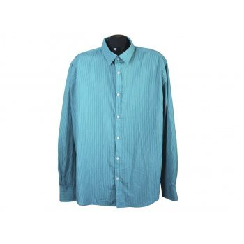 Рубашка мужская зеленая в полоску SLIM FIT SMOG, XL