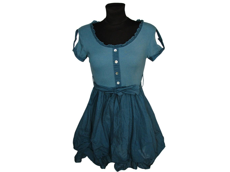 Женское зеленое платье с коротким рукавом, М