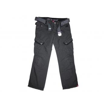 Женские серые брюки с поясом ESPRIT
