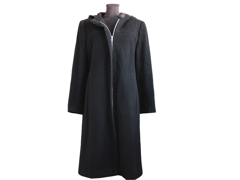 Женское пальто полушерстяное с капюшоном, L