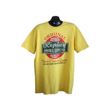 Мужская желтая футболка с принтом REPLAY