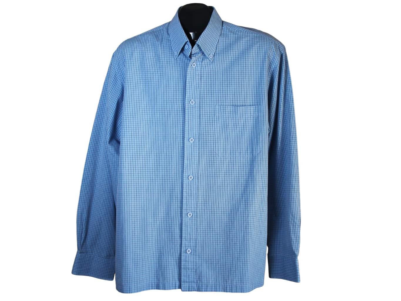 Мужская голубая рубашка в клетку ST.BERNARD, L
