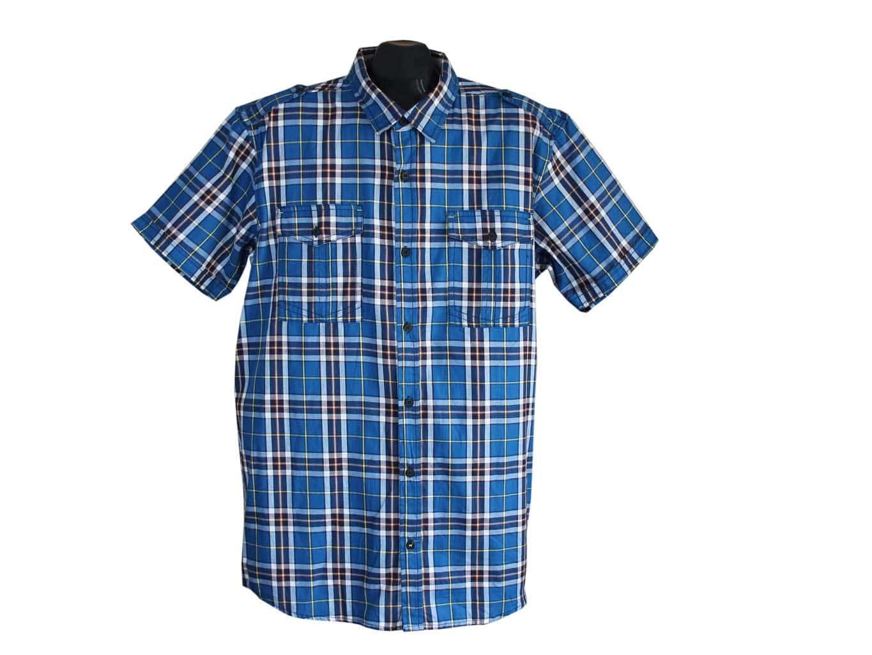 Мужская синяя рубашка в клетку ANGELO LITRICO, XL