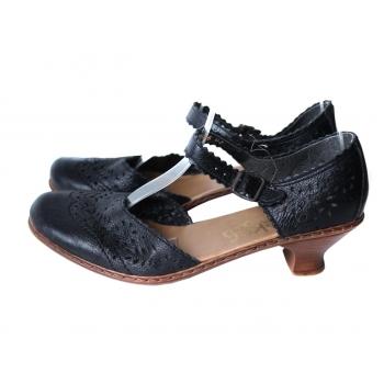 Босоножки женские черные кожаные RIEKER 38 размер