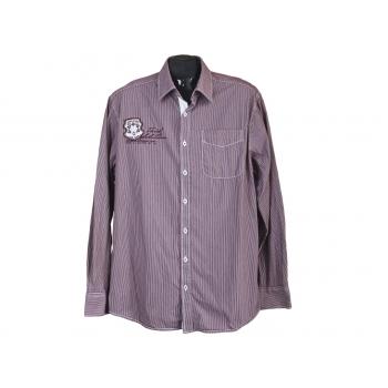 Рубашка мужская бордовая в полоску ENGBERS, XL