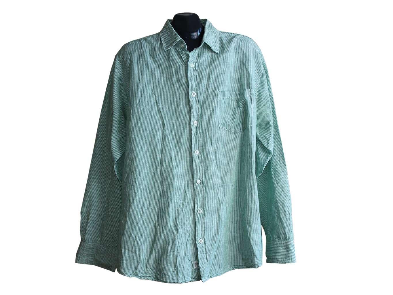 Мужская зеленая рубашка в полоску HEMA, XL