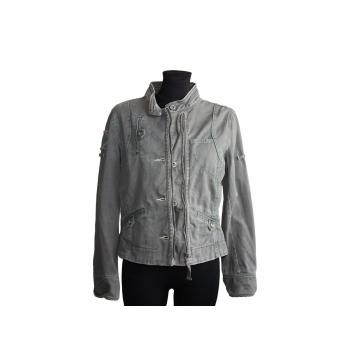 Женская серая джинсовая куртка MANGO