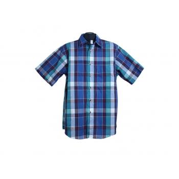 Мужская синяя рубашка в клетку 417 by VAN HEUSEN, L