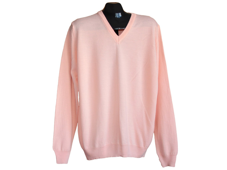 Мужской розовый шерстяной свитер MARKS&SPENCER