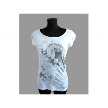 Женская белая футболка с принтом DENIM