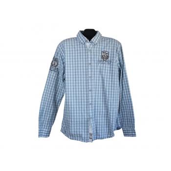 Рубашка мужская голубая в клетку CAMP DAVID, XL