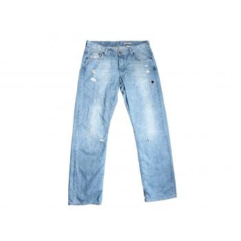 Женские рваные голубые джинсы BOYFRIEND H&M