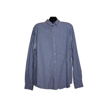 Мужская голубая рубашка в полоску HOWICK, XL