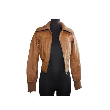 Женская коричневая кожаная куртка NEW LOOK, XS