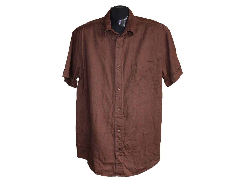Мужская коричневая льняная рубашка NEXT, L