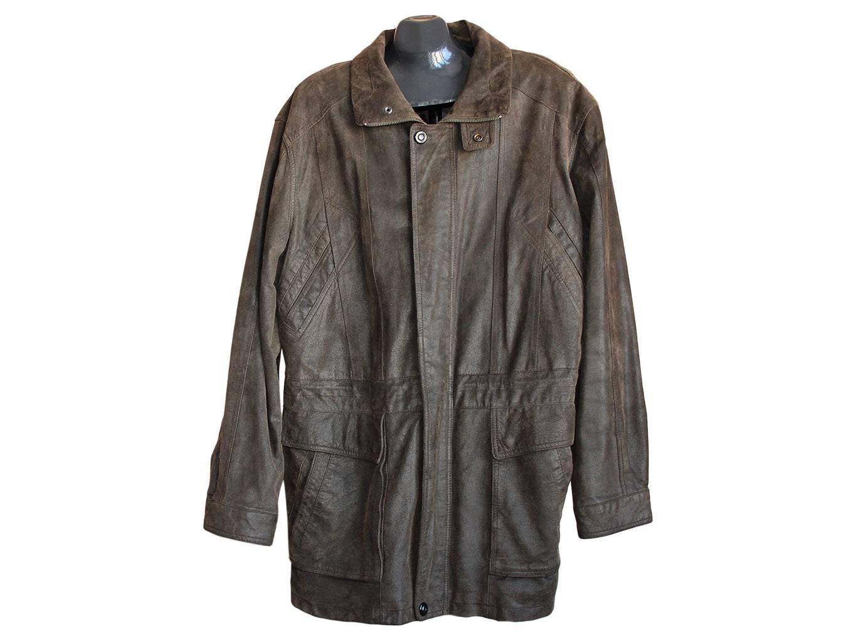 Мужская кожаная куртка болотного цвета CANDA, XL